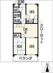 愛知県あま市篠田西鳥の賃貸マンションの間取り