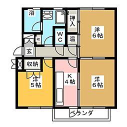 ライブタウン浜田B[1階]の間取り
