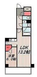 東京メトロ有楽町線 豊洲駅 徒歩8分の賃貸マンション 20階1LDKの間取り