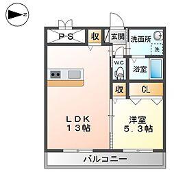 (仮称)精華町北稲八間新築賃貸マンション 2階1LDKの間取り