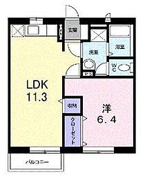 香川県高松市国分寺町新居の賃貸アパートの間取り