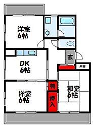 福岡県宗像市東郷2丁目の賃貸マンションの間取り