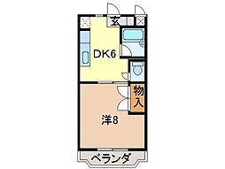 静岡県富士市本市場町の賃貸マンションの間取り