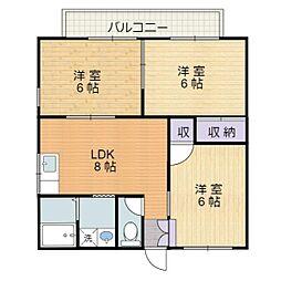 静岡県静岡市駿河区北丸子2丁目の賃貸アパートの間取り