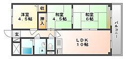 岡山県岡山市北区昭和町の賃貸マンションの間取り