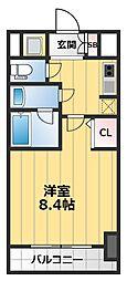 クレアートアドバンス北大阪 4階1Kの間取り