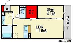 D-room瓦田 3階1LDKの間取り