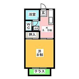 コーポ浅井C[1階]の間取り