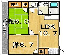 福岡県福岡市東区奈多2丁目の賃貸アパートの間取り