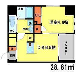 ソアエサカイースト 4階1DKの間取り