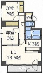 北海道札幌市北区北三十四条西11丁目の賃貸マンションの間取り
