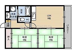 JR片町線(学研都市線) 鴻池新田駅 徒歩13分の賃貸マンション 6階2LDKの間取り