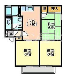 兵庫県加西市鶉野町の賃貸アパートの間取り