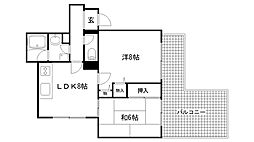 兵庫県神戸市東灘区深江南町2丁目の賃貸マンションの間取り