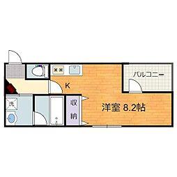 静岡鉄道静岡清水線 日吉町駅 徒歩10分の賃貸マンション 2階ワンルームの間取り