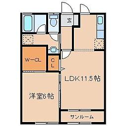 ランドールK A[102号室]の間取り