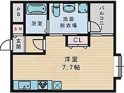 京阪交野線 宮之阪駅 徒歩5分の賃貸アパート 2階ワンルームの間取り