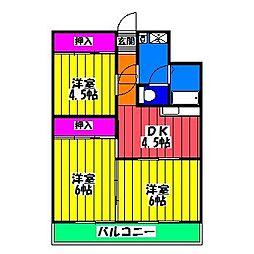 福岡県福岡市南区折立町の賃貸マンションの間取り