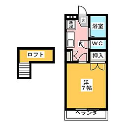 愛知県岡崎市大門3丁目の賃貸アパートの間取り