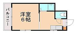 福岡県福岡市中央区鳥飼3の賃貸マンションの間取り