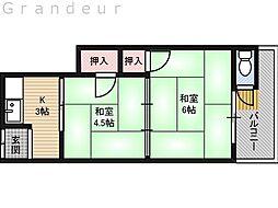宮浦文化 北棟 2階2Kの間取り