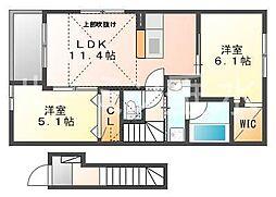 クレモンティーヌB[2階]の間取り