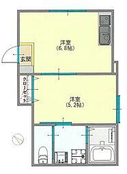 東京メトロ有楽町線 月島駅 徒歩3分の賃貸アパート 1階1DKの間取り