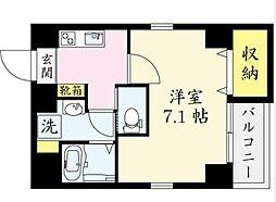 JR中央本線 国分寺駅 徒歩9分の賃貸マンション 2階1Kの間取り