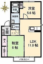 香川県高松市屋島中町の賃貸アパートの間取り