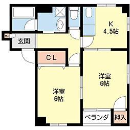 新潟県新潟市中央区二葉町2丁目の賃貸アパートの間取り