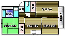 大阪府富田林市藤沢台4丁目の賃貸アパートの間取り