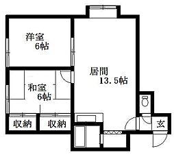 北海道札幌市清田区真栄二条1丁目の賃貸アパートの間取り