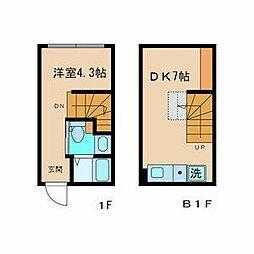 CONTEL SHINANOMACHI 1階1DKの間取り