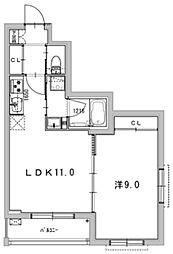 ルイーズ 4階1LDKの間取り