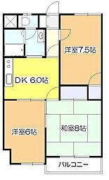 東京都東大和市向原1丁目の賃貸マンションの間取り