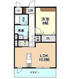 愛知県名古屋市千種区宮根台1丁目の賃貸マンション 1階1LDKの間取り