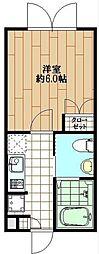 ラピス渋谷本町 4階1Kの間取り