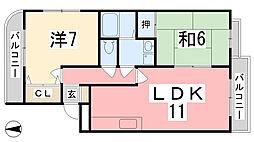 ボヌール五軒邸[301号室]の間取り