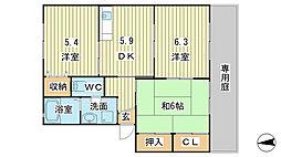 兵庫県たつの市龍野町片山の賃貸アパートの間取り