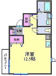 JR横須賀線 西大井駅 徒歩5分の賃貸マンション 2階ワンルームの間取り