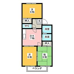 コーポ細木[1階]の間取り