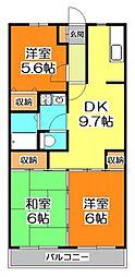 東京都東久留米市野火止3丁目の賃貸マンションの間取り