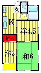 千葉県船橋市宮本4丁目の賃貸アパートの間取り