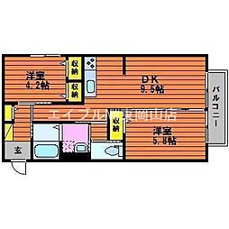 岡山県赤磐市桜が丘東6丁目の賃貸アパートの間取り