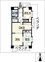 エスポア日吉[2階]の間取り