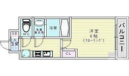 レオンコンフォート京橋イースト 11階1Kの間取り
