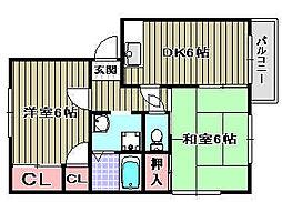 リッチネス阪南E[205号室]の間取り