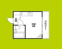 野江II番館 1階ワンルームの間取り