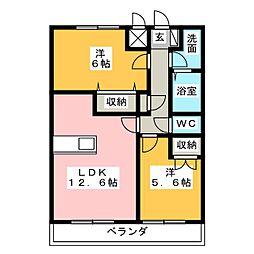 サンライズ・K[2階]の間取り
