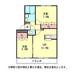 愛知県一宮市東島町3丁目の賃貸アパートの間取り